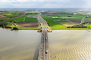 Nederland, Zuid-Holland, Hollandsch Diep, 23-10-2013; <br /> Brug van de A16 over het Hollandsch Diep in de richting van Knooppunt Klaverpolder. <br /> Road bridge (A16) on the  Hollandsch Diep.<br /> luchtfoto (toeslag op standaard tarieven);<br /> aerial photo (additional fee required);<br /> copyright foto/photo Siebe Swart.