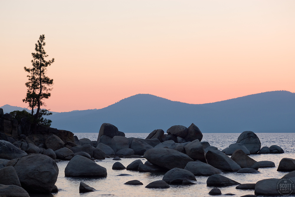 """Sand Harbor Sunset, Lake Tahoe""- This sunset was photographed looking west from the east coast of Lake Tahoe."