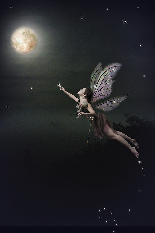 Fairy flying to the moon
