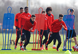 MANCHESTER, ENGLAND - Wednesday, March 16, 2016: Manchester United's Chris Smalling and Cameron Borthwick-Jackson during a training session at Carrington Training Ground ahead of the UEFA Europa League Round of 16 2nd Leg match against Liverpool. (Pic by David Rawcliffe/Propaganda)