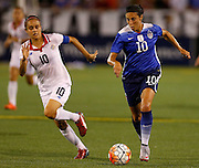 CHATTANOOGA, TN - AUGUST 19:  Midfielder Carli Lloyd #10 of the United States dribbles the ball while midfielder Katherine Alvarado #10 of Costa Rica during the friendly match at Finley Stadium on August 19, 2015 in Chattanooga, Tennessee.  (Photo by Mike Zarrilli/Getty Images)