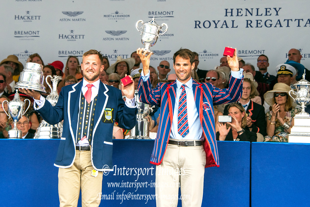 Henley on Thames, England, United Kingdom, 7th July 2019, Henley Royal Regatta, Prize Giving, The Double Sculls Challenge Cup, {L} John Collins & Graeme Thomas, [© Peter SPURRIER/Intersport Image]<br /> <br /> 17:38:53 1919 - 2019, Royal Henley Peace Regatta Centenary,