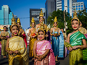 13 APRIL 2018 - BANGKOK, THAILAND:  The start of a religious observance of Songkran in Lumpini Park in Bangkok. Songkran is the traditional Thai New Year celebration best known for water fights.     PHOTO BY JACK KURTZ