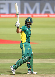 Rilee Rossouw of South Africa raises his bat after reaching his fifty during the 5th ODI match between South Africa and Australia held at Newlands Stadium in Cape Town, South Africa on the 12th October  2016<br /> <br /> Photo by: Shaun Roy/ RealTime Images