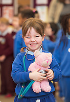 22/02/2014 Sophie Nolan Scoil Caithriona  at the 10th annual Teddy Bear Hospital at NUI Galway will take place Thursday and Friday, 22 and 23 January. The event will see over 1,500 sick teddy bears admitted to the hospital, accompanied by their minders, 1,500 primary school children.<br /> <br /> The event is organised by the Sl&aacute;inte Society, the NUI Galway branch of the International Federation of Medical Students Associations, and up to 200 medical and science students will diagnose and treat the teddy bears. In the process, they hope to help children, ranging in age from 3-8 years, feel more comfortable around doctors and hospitals.. Photo:Andrew Downes