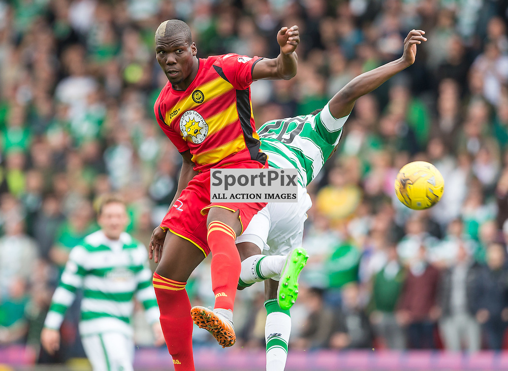 Mathias Pogba challneges Dedryk Boyata during the Scottish Premiership match between Partick Thistle and Celtic (c) ROSS EAGLESHAM | Sportpix.co.uk
