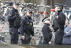 © Licensed to London News Pictures. 05/03/2019. London, UK. Armed officers at Waterloo Station as police deal with a suspicious package. Earlier reports said the station has been evacuated, but police state that trains are running as normal. Similar incidents have been reported at Heathrow and London City airport. Photo credit: Peter Macdiarmid/LNP