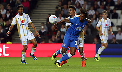 Ivan Toney of Peterborough United battles for the ball with Oran Jackson of Milton Keynes Dons - Mandatory by-line: Joe Dent/JMP - 04/09/2018 - FOOTBALL - Stadium MK - Milton Keynes, England - Milton Keynes Dons v Peterborough United - Checkatrade Trophy
