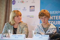 LIVERPOOL, ENGLAND - Thursday, June 18, 2015: Liverpool Labour's Cabinet member for Culture and Tourism Councillor Wendy Simon with Andrey Rublev (RUS) during a press conference on Day 1 of the Liverpool Hope University International Tennis Tournament at Liverpool Cricket Club. (Pic by David Rawcliffe/Propaganda)
