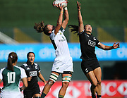 DUBAI, UNITED ARAB EMIRATES - Thursdays 30 November 2017, Marithy Pienaar of South Africa and Michaela Blyde of New Zealand in mid air during HSBC Emirates Airline Dubai Rugby Sevens match between South Africa and New Zealand at The Sevens Stadium in Dubai.<br /> Photo by Roger Sedres/ImageSA