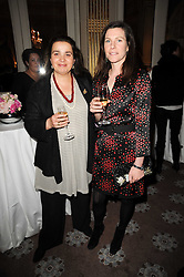 Left to right, AMABEL CLARKE and NICOLA ORR-EWING  at a party to celebrate Penguin's reissue of Nancy Mitford's 'Wigs on The Green' hosted by Tatler at Claridge's, Brook Street, London on 10th March 2010.