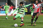 Forest Green Rovers Reuben Reid(26) shoots at goal during the EFL Sky Bet League 2 match between Cheltenham Town and Forest Green Rovers at LCI Rail Stadium, Cheltenham, England on 14 April 2018. Picture by Shane Healey.