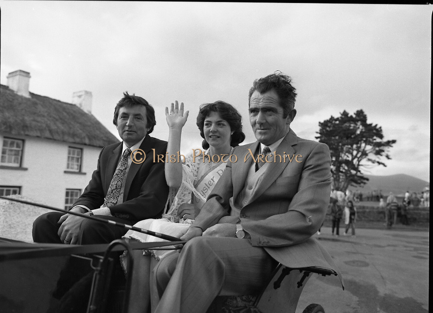 "The Carlingford Oyster Festival.1982.19.08.1982..08.19.1982.19th August 1982..Pictures and Images of the Carlingford Oyster Festival... The Minister For Fisheries and Forestry Mr Brendan Daly officially opened  The Carlingford Oyster Festival. The Chairman of the organising committee was Mr. Joe McKevitt..""The Oyster Pearl"" was Ms Deirdre McGrath..A horse and trap was on hand to carry Ms McGrath and Minister to the official opening ceremony. The owner of the carriage Mr Jack Moran of Omeath took the reins."
