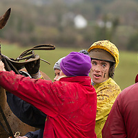 Derek O'Connor dismounts after racing in the East Clare Harriers 2015 Killaloe point to point