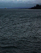 digital painting from a photo original capture of a sailboat approaching Rich Passage in Puget Sound viewed from a ferry approaching Eagle Harbor on Bainbridge, Island, Washington, USA