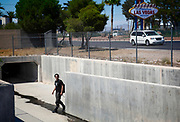 Under the neon signs and singing slot machines in Las Vegas hundreds of homeless people live in the more than 200 miles of storm drains.
