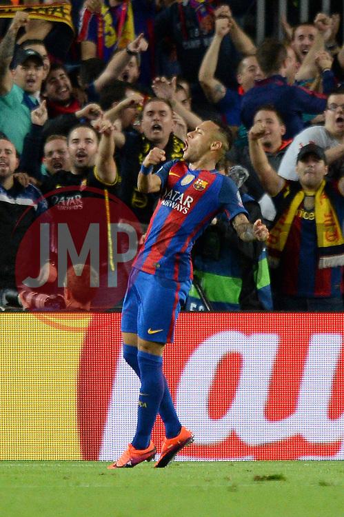 Neymar of Barcelona celebrates his goal which makes it 4-0 - Mandatory by-line: Dougie Allward/JMP - 19/10/2016 - FOOTBALL - Camp Nou - Barcelona, Catalonia - FC Barcelona v Manchester City - UEFA Champions League