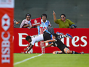 Fijian Rusila Nagasaki dives over to score Fiji's second try with happy Fijian fans in the background during the Emirates Dubai rugby sevens match between Fiji and New Zealand  at the Sevens Stadium, Al Ain Road, United Arab Emirates on 1 December 2016. Photo by Ian  Muir.*** during the Emirates Dubai rugby sevens match between *** and ***  at the Sevens Stadium, Al Ain Road, United Arab Emirates on 1 December 2016. Photo by Ian  Muir.