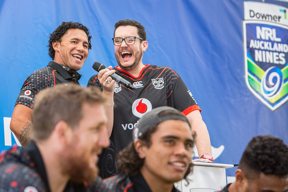NRL Nines Fan Day. Teams from the NRL Nines tournament interact with fans at Aotea Centre. Auckland. 2 February 2017.  Photo:Gareth Cooke/Subzero Images