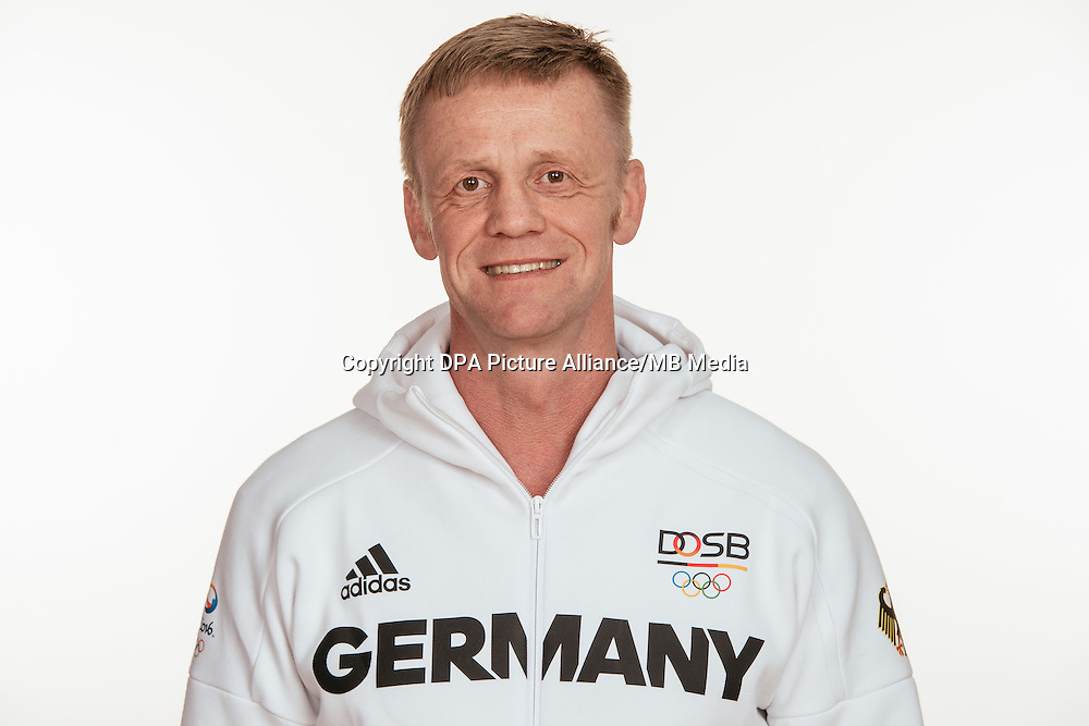 Marc Borchert poses at a photocall during the preparations for the Olympic Games in Rio at the Emmich Cambrai Barracks in Hanover, Germany, taken on 12/07/16 | usage worldwide