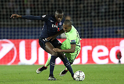 Serge Aurier of Paris Saint-Germain fouls Fernandinho of Manchester City - Mandatory by-line: Robbie Stephenson/JMP - 06/04/2016 - FOOTBALL - Parc des Princes - Paris,  - Paris Saint-Germain v Manchester City - UEFA Champions League Quarter Finals First Leg