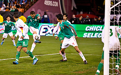 February 24, 2010; San Francisco, CA, USA;  Mexico defender Paul Aguilar (3) scores against Bolivia during the second half at Candlestick Park. Mexico defeated Bolivia 5-0.