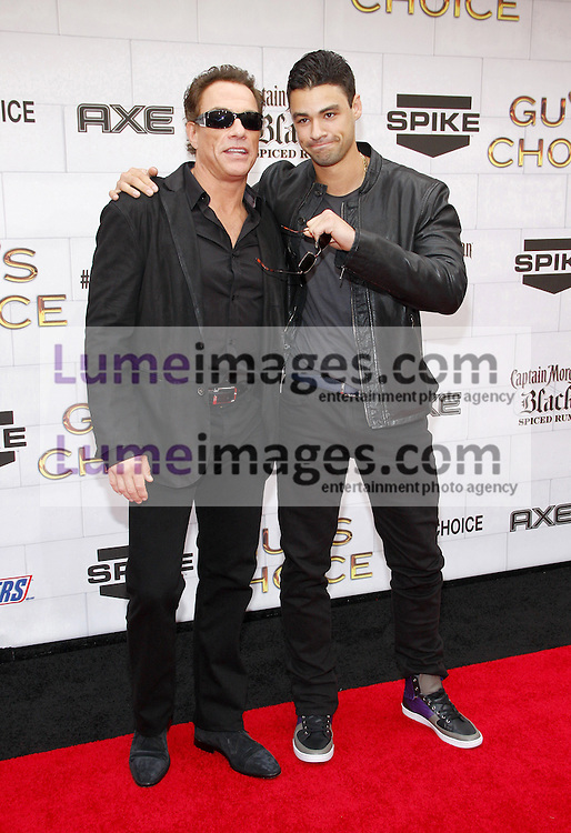 Jean-Claude Van Damme and Kristopher Van Varenberg at the 2012 Spike TV's Guys Choice Awards held at the Sony Studios in Culver City on June 2, 2012. Credit: Lumeimages.com