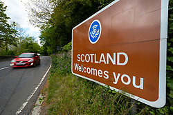 Coldstream, Scotland, UK. 12 May 2020. View of the border between England and Scotland on the A689(7) at Coldstream in the Scottish Borders. The Scottish First Minister has said that because the coronavirus lockdown is not being lifted in Scotland, people from England should not travel to Scotland unless they follow Scottish lockdown laws.  Iain Masterton/Alamy Live News