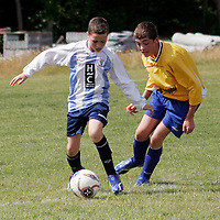 Salthill's Damien Connaughton takes on Clare's Frank Melody at the Lees Road open day on Sunday.<br /> <br /> <br /> <br /> Photograph by Yvonne Vaughan.