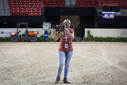 Van der Net, Inge,and Horse International in the arena of the Thomas & Mack Center<br /> FEI World Cup™ 2015 Finals - Las Vegas 2015<br />  © Hippo Foto - Dirk Caremans
