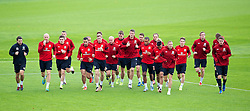 CARDIFF, WALES - Monday, October 14, 2013: Wales' Craig Bellamy leads the players during a training session at the Vale of Glamorgan ahead of the 2014 FIFA World Cup Brazil Qualifying Group A match against Belgium. (Pic by David Rawcliffe/Propaganda)