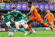Netherlands forward Quincy Promes (11) runs with the ball faced by Northern Ireland defender Craig Cathcart (20)  during the UEFA European 2020 Qualifier match between Northern Ireland and Netherlands at National Football Stadium, Windsor Park, Northern Ireland on 16 November 2019.