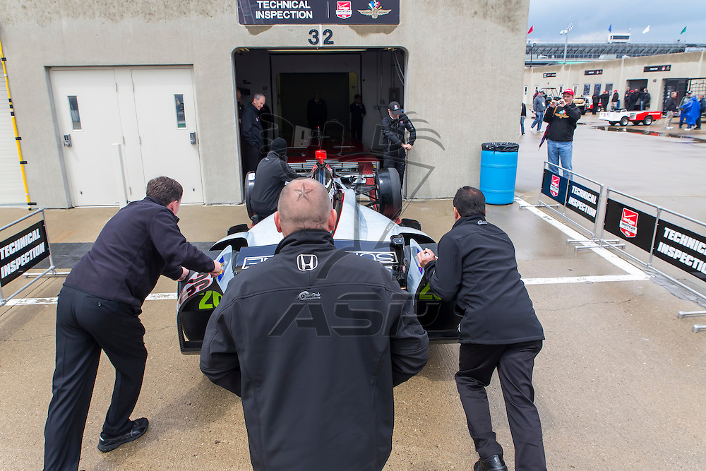 indianapolis, IN - May 16, 2014:  The Suretone Honda gets pushed through inspection before a practice session for the Indianapolis 500 at Indianapolis Motor Speedway in indianapolis, IN.<br /> <br /> MANDATORY PHOTO CREDIT: Walter G. Arce, Sr. KBI Motorsports/ASPInc