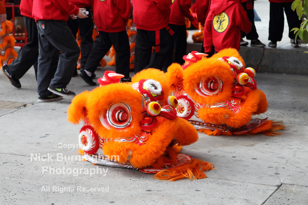 ROSEMEAD, CALIFORNIA, USA -FEBRUARY 10, 2013: Chinese New Year festivities in Rosemead California. Many of the activities are provided by local Kung Fu clubs whose members wear the elaborate Chinese dragon costumes. EDITORIAL USE ONLY - EXCLUSIVELY AVAILABLE HERE