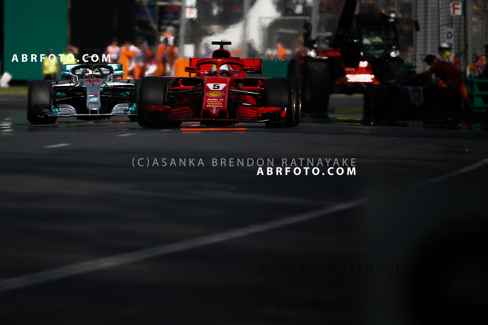Ferrari driver Sebastian Vettel of Germany during the 2018 Rolex Formula 1 Australian Grand Prix at Albert Park, Melbourne, Australia, March 24, 2018.  Asanka Brendon Ratnayake