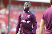 West Ham United defender Arthur Masuaku (26) warms up before the Premier League match between Arsenal and West Ham United at the Emirates Stadium, London, England on 22 April 2018. Picture by Bennett Dean.