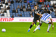 Tom Lawrence of Derby County (10) passes the ball during the EFL Sky Bet Championship match between Huddersfield Town and Derby County at the John Smiths Stadium, Huddersfield, England on 5 August 2019.