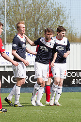 Falkirk's Rory Loy celebrates after scoring their first goal.<br /> Falkirk 2 v 1 Raith Rovers, Scottish Championship game played today at The Falkirk Stadium.<br /> © Michael Schofield.