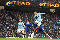 Manchester City's Gabriel Jesus scores his side's second goal of the game during the Premier League match at the Etihad Stadium, Manchester.