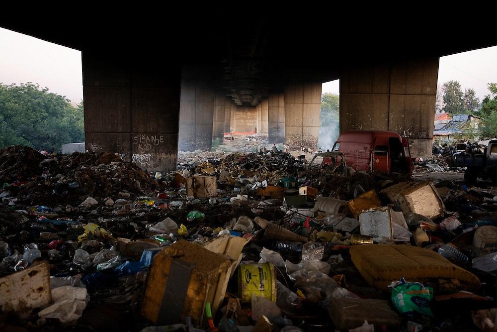 Underneath the Gazela bridge, Nova Gazela settlement. Collected trash.