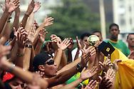 Football - FIFA Beach Soccer World Cup 2006 - Semi Final - BRA X POR - Rio de Janeiro - Brazil 11/11/2006<br />Brazilian fans cheers  during the match Event Title Board Mandatory Credit: FIFA / Ricardo Moraes