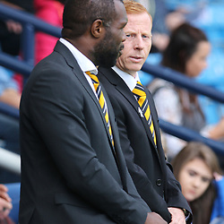 Christian Nade and Stevie Aitken  during the Kilmarnock v Dumbarton Betfred Cup Group E  29nd July 2017 <br /> <br /> <br /> <br /> <br /> (c) Andy Scott | SportPix.org.uk