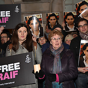 Amnesty International demand free blogger Raif Badawi - London