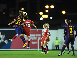 Bristol Academy Womens' Laura Del Rio Garcia challenges FC Barcelona's Alexia Putellas in the air - Photo mandatory by-line: Dougie Allward/JMP - Mobile: 07966 386802 - 13/11/2014 - SPORT - Football - Bristol - Ashton Gate - Bristol Academy Womens FC v FC Barcelona - Women's Champions League