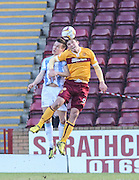 Motherwell's John Sutton and Dundee's Thomas Konrad - Motherwell v Dundee, SPFL Premiership at Fir Park<br /> <br />  - &copy; David Young - www.davidyoungphoto.co.uk - email: davidyoungphoto@gmail.com