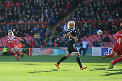 Bristol Academy's Nikki Watts shoots from a free kick - Photo mandatory by-line: Dougie Allward/JMP - Mobile: 07966 386802 - 21/03/2015 - SPORT - Football - Bristol - Ashton Gate Stadium - Bristol Academy v FFC Frankfurt - UEFA Women's Champions League - Quarter Final - First Leg