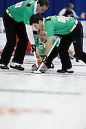 Brent Laing, second, lead The 2011 GP Car and Home Players' Championship ran April 12-17 at the Crystal Centre, Grande Prairie, AB..11-04-13, Photo Randy Vanderveen, Grande Prairie, Alberta.