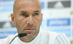 August 15, 2017 - Madrid, Spain - Real Madrid's French coach Zinedine Zidane speaks during a press conference at Real Madrid sports city in Madrid on August 15, 2017, on the eve of the Spanish SuperCup second leg football match Real Madrid CF vs FC Barcelona. (Credit Image: © Raddad Jebarah/NurPhoto via ZUMA Press)