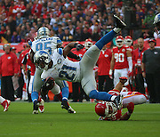 Detroit Lions Ameer Abdullah getting tackled during the Kansas City Chiefs v Detroit Lions  NFL International Series match at Wembley Stadium, London, England on 1 November 2015. Photo by Matthew Redman.