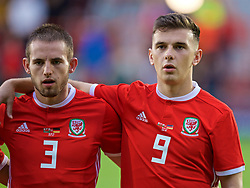 WREXHAM, WALES - Tuesday, September 10, 2019: Wales' Rhys Norrington-Davies and Mark Harris line-up before the UEFA Under-21 Championship Italy 2019 Qualifying Group 9 match between Wales and Germany at the Racecourse Ground. (Pic by David Rawcliffe/Propaganda)